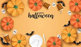 Halloween-Design mit Geschirr, Fledermäusen und Kürbisen auf Orange vektor