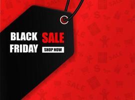 Black Friday Sale Design mit Etikett auf rot