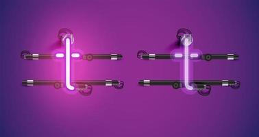 Realistiska glödande lila neon charcter av och på vektor