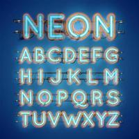 Realistiska glödande dubbel neon charcter av och på vektor