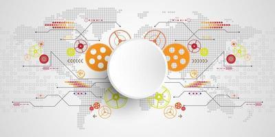Vektortechnologiekonzept mit weißem Hintergrund vektor