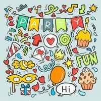 Handritad doodle party vektor