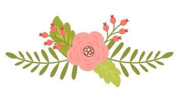 Vårens söta blommor med antika rosor och grenar vektor