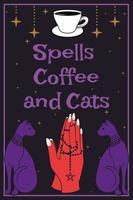 Schwarze Katzen. Betende Hände halten einen Rosenkranz mit einem Pentagramm