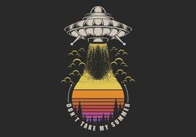 UFO, das Retro- Illustration des Sonnenuntergangs nimmt vektor