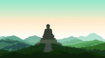 Buddha i meditationsstatykontur vektor