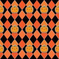 Sömlös halloween mönster med pumpor på argyle svart och orange bakgrund. vektor