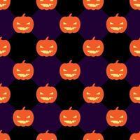 Sömlös halloween mönster med pumpor på rhomb svart och violett bakgrund.