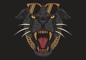 cooler schwarzer Panther mit Sonnenbrille und Halskette vektor