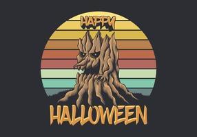hölzerner Baum vor Retro- glücklicher Halloween-Illustration des Sonnenuntergangs vektor