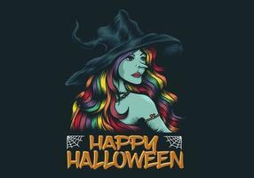 junge Hexe glücklich Halloween Illustration vektor