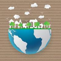 Ekologiskt papper konstkoncept miljövänligt vektor