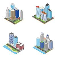 Wolkenkratzer isometrische Symbole
