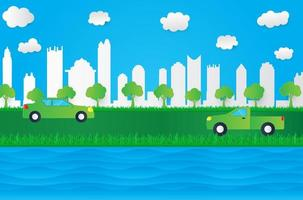 Papierartstadtbild mit Fluss und Gras