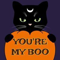 Halloween-kort med svart katt och snidad pumpa. Vektorillustration