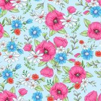 Nahtloses Muster der roten Mohnblumen und der Gänseblümchen