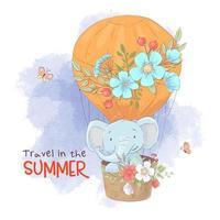 Netter Karikaturelefant in einem Ballon mit Blumen