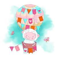 Nette Karikaturschafe in einem Ballon