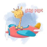 Söt tecknad giraff på ett flygplan vektor