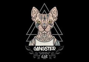 sphynx katt gangster med tatueringar vektor