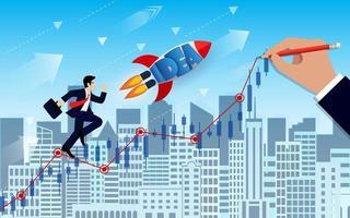 Geschäftsmann- und Raumfährekonkurrenz gehen zum Ziel