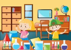 Studenter som lär sig i klassrummet vektor