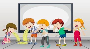 Kinder, die in der Schule krank sind vektor