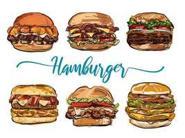 Hamburger handritad uppsättning vektor