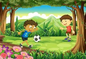 Ein Wald mit zwei Jungen, die Fußball spielen vektor