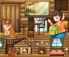 Mädchen und Hunde in verschiedenen Räumen im Haus