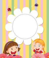 Ein Briefpapier mit zwei Mädchen im Garten vektor