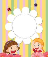 En brevpapper med två flickor i trädgården