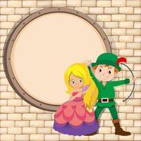 Grenzentwurf mit Jäger und Prinzessin vektor