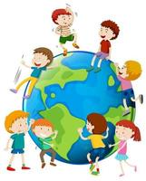 Många barn är världen över vektor