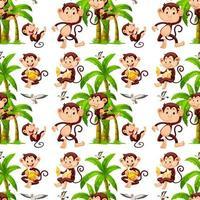 Nahtlose Affen und Kokospalmen