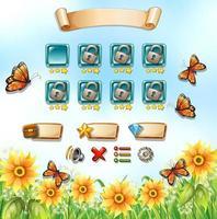 Spelmall med fjärilar i trädgården