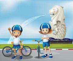 Två söta cyklister som står framme av Merlion vektor