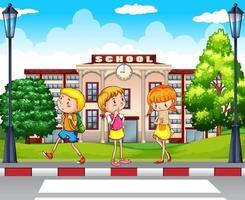 Studenter som går i skolan