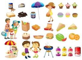 Set von Dingen und Lebensmitteln für ein Picknick vektor