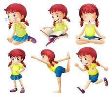 En ung dam som gör olika aktiviteter vektor
