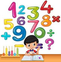 Junge, der Zahlen auf dem Schreibtisch zählt vektor