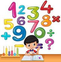 Pojke som räknar nummer på skrivbordet vektor