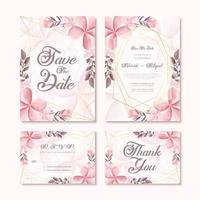 Härlig bröllopinbjudankortmalluppsättning med akvarellblommagarnering vektor