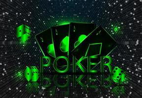 Casino Glücksspiel Turnier Template Design mit realistischen Spielkarten vektor