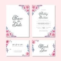 Vacker akvarell blomma bröllop inbjudningskort mall vektor