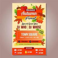 Plakat Herbst Festival Vorlage mit Laub Zeug