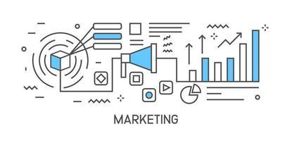 Marketing Illustration und Workflow. Flache Linie Design infographic mit blauer Farbe