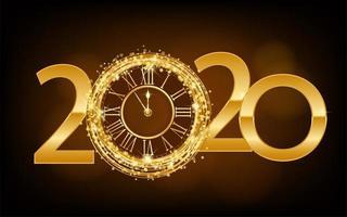 Glänzende goldene Uhr des guten Rutsch ins Neue Jahr 2020 vektor