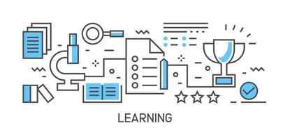 Illustration und Arbeitsablauf lernen. Flache Linie Design infographic mit blauer Farbe