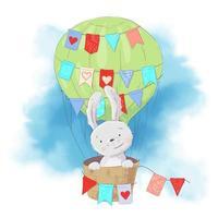 Söt tecknad kanin i en ballong